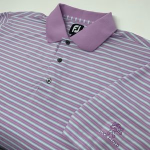 Footjoy Short Sleeve Purple Blue Striped Polo
